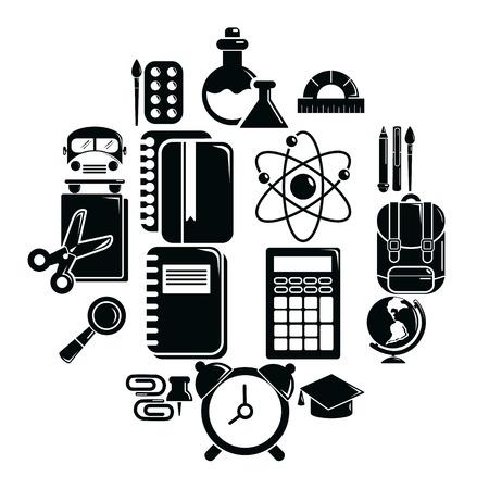 Ensemble d'icônes d'éducation scolaire. Illustration simple de 16 icônes vectorielles de l'éducation scolaire pour le web