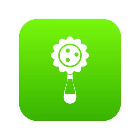 Rattle baby toy icon digital green for any design isolated on white vector illustration Vettoriali