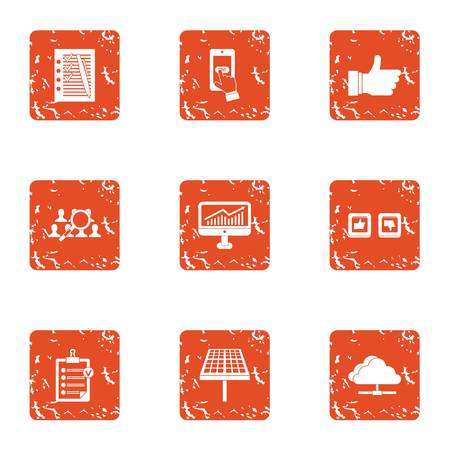 Unite icons set. Grunge set of 9 unite vector icons for web isolated on white background  イラスト・ベクター素材