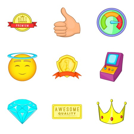 Achieving success icons set. Cartoon set of 9 achieving success vector icons for web isolated on white background Иллюстрация