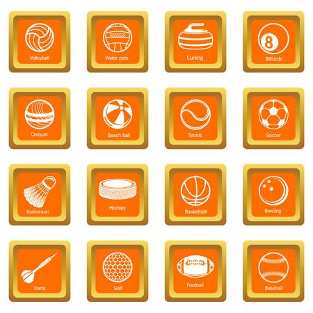 Sport balls equipment icons set vector orange square isolated on white background  Иллюстрация