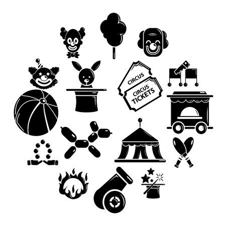 Circus icons set. Simple illustration of 16 circus vector icons for web Illustration