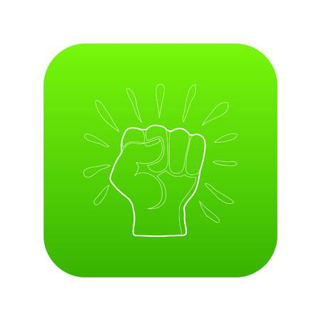 Riot icon green vector isolated on white background