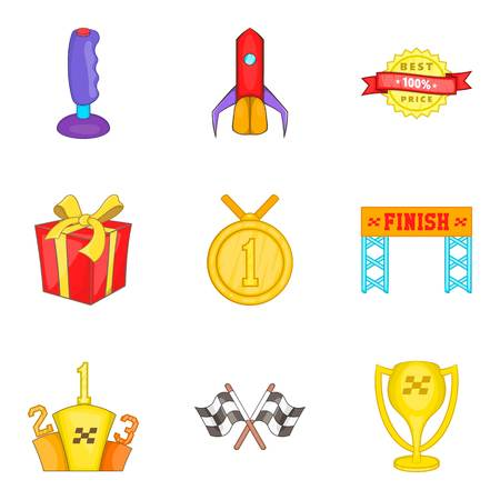 Honorary diploma icons set. Cartoon set of 9 honorary diploma vector icons for web isolated on white background Illustration