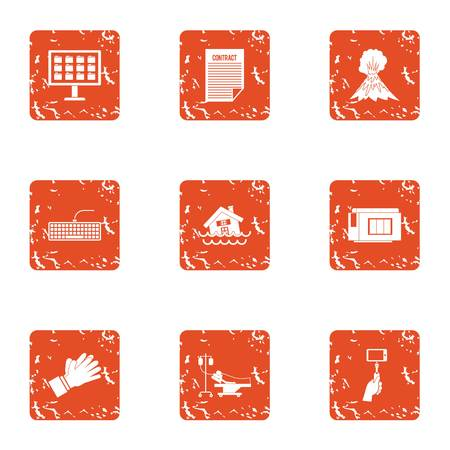 Danger of nature icons set. Grunge set of 9 danger of nature vector icons for web isolated on white background Illustration