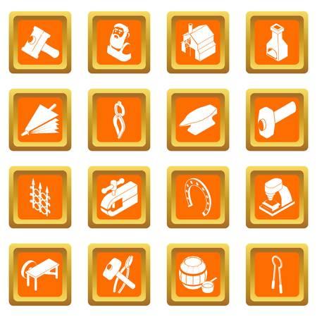 Blacksmith tools icons set vector orange square isolated on white background