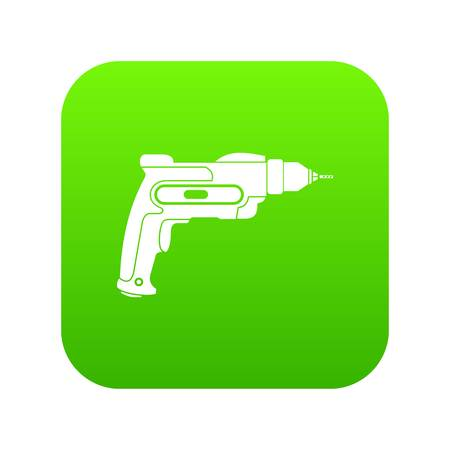Hand drill icon digital green for any design isolated on white vector illustration Illustration