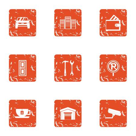 Safe parking icons set. Grunge set of 9 safe parking vector icons for web isolated on white background Vettoriali