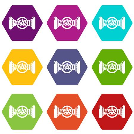 Valve colorful icons on a white background