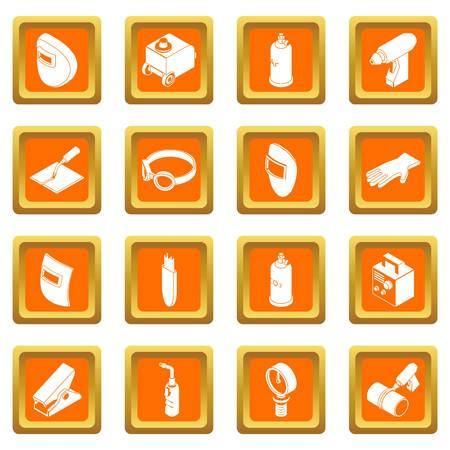 주황색 사각형에 용접 도구 아이콘 설정 스톡 콘텐츠 - 100366812