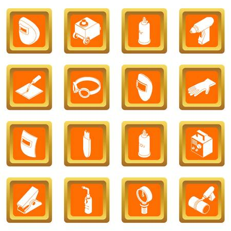 Welding tools icons set in orange squares 矢量图像