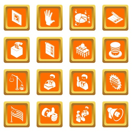 Election voting icons set in orange squares