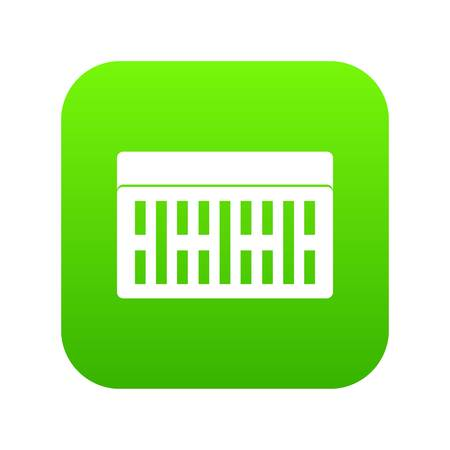 One building brick icon digital green for any design isolated on white vector illustration.