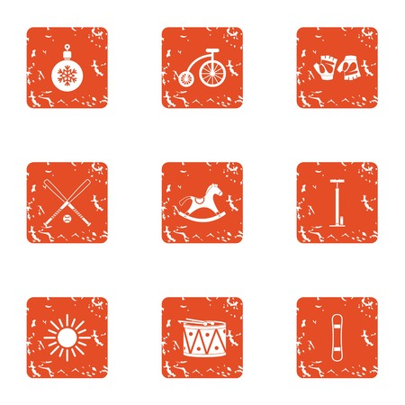 Snowbound icons set. Grunge set of 9 snowbound vector icons for web isolated on white background 일러스트