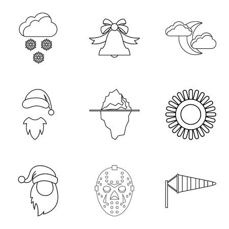 Cold weather icons set. Outline set of 9 cold weather vector icons for web isolated on white background