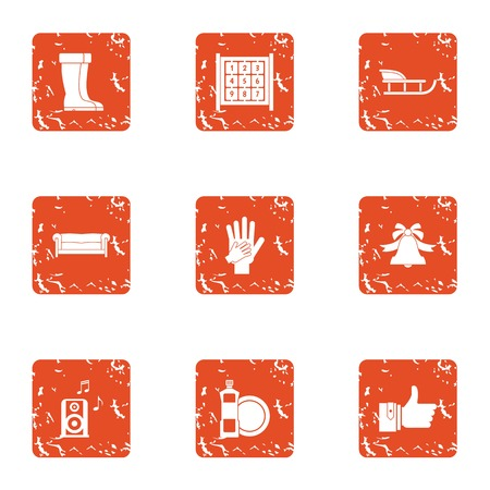 Winter journey icons set. Grunge set of 9 winter journey vector icons for web isolated on white background