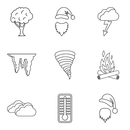 Cold supply icons set. Outline set of 9 cold supply vector icons for web isolated on white background