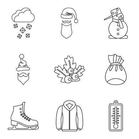 Frostbite icons set. Outline set of 9 frostbite vector icons for web isolated on white background