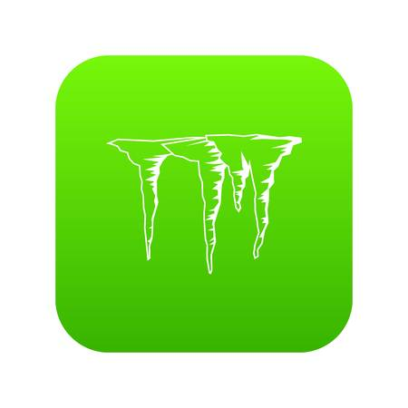 Icicles icon digital green for any design isolated on white vector illustration