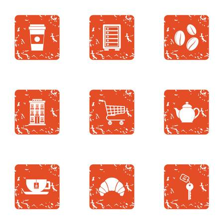 Coffeehouse icons set. Grunge set of 9 full face vector icons for web isolated on white background