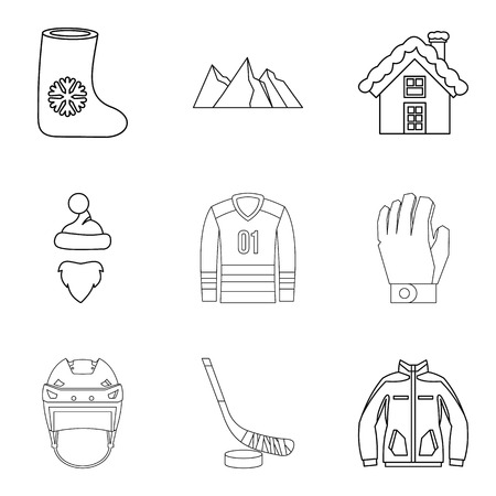 Freezing injury icons set. Outline set of 9 freezing injury vector icons for web isolated on white background 일러스트