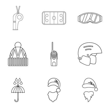 Artificial cold icons set. Outline set of 9 artificial cold vector icons for web isolated on white background 일러스트