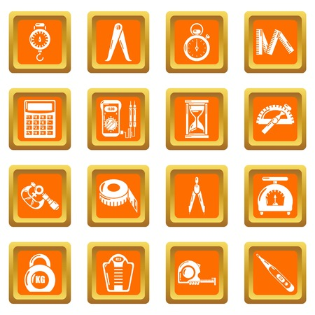 Measure precision icons set vector orange square isolated on white background