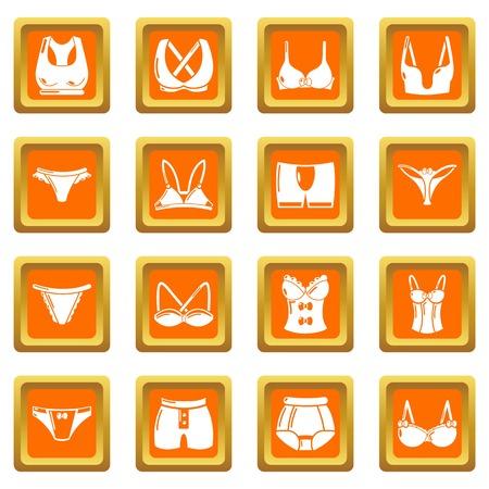Underwear types icons set vector orange square isolated on white background Illustration
