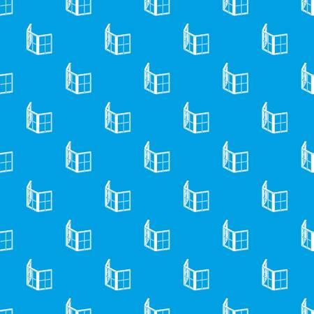 Facade window frame pattern vector seamless blue repeat for any use Illustration