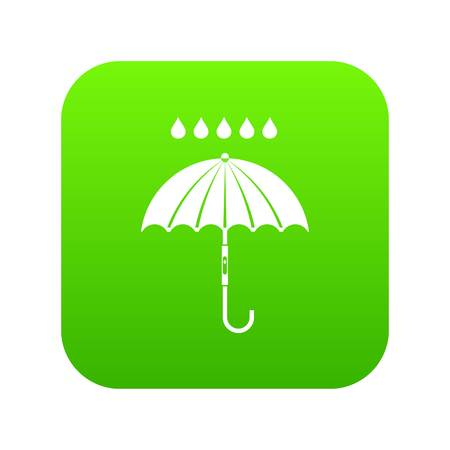 Umbrella and rain drops icon digital green for any design isolated on white vector illustration