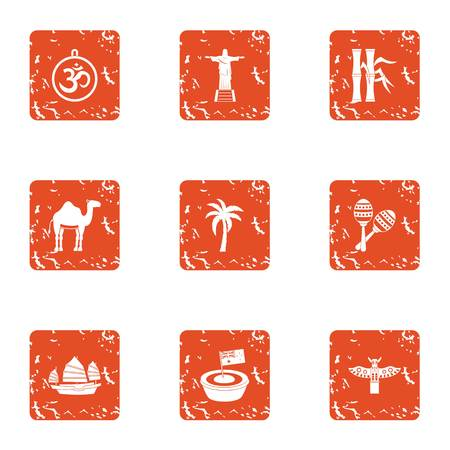 Exotic asia icons set. Grunge set of 9 exotic asia vector icons for web isolated on white background