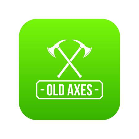 Old axe icon green vector isolated on white background Illustration