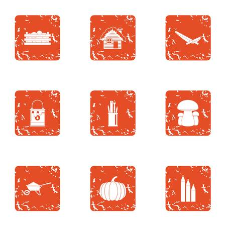 Topiary icons set. Grunge set of 9 topiary vector icons for web isolated on white background Banque d'images - 100695725