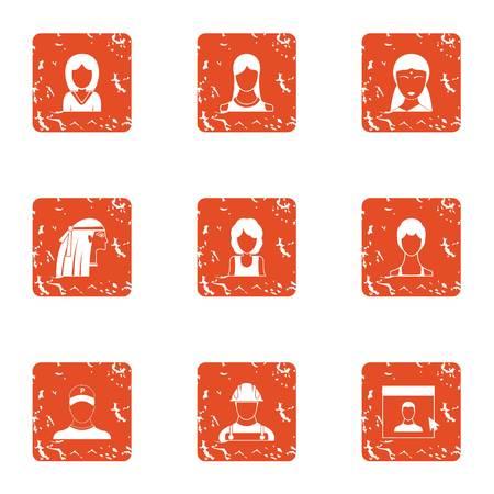 Full face icons set. Grunge set of 9 full face vector icons for web isolated on white background Ilustração