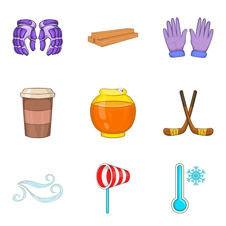 Usual cold icons set. Cartoon set of 9 usual cold vector icons for web isolated on white background 일러스트