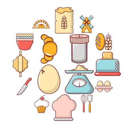 Bakery icons set. Cartoon illustration of 16 bakery vector icons for web