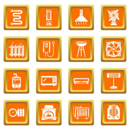 Heat cool air flow tools icons set vector orange square isolated on white background
