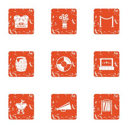 Film production icons set. Grunge set of 9 film production vector icons for web isolated on white background