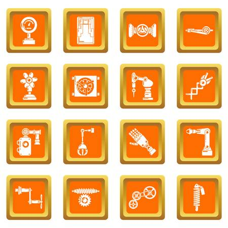 Technical mechanisms icons set vector orange square isolated on white background