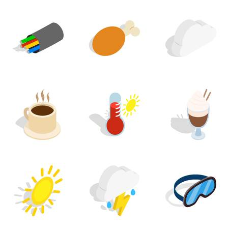 Cold place icons set. Isometric set of 9 cold place vector icons for web isolated on white background