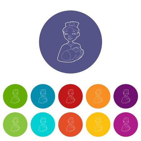 Nurse with a newborn icon. Isometric 3d illustration of nurse with a newborn vector icon for web