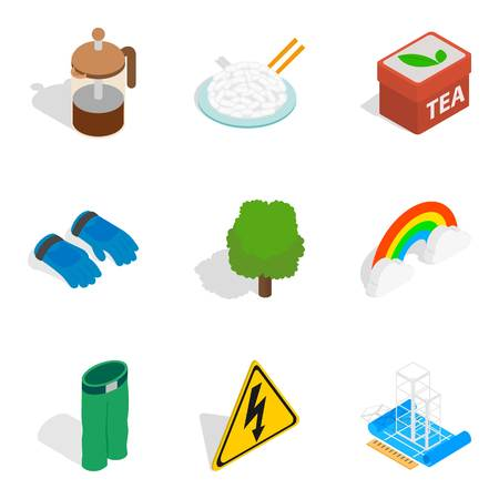 Solidification icons set. Isometric set of 9 solidification vector icons for web isolated on white background