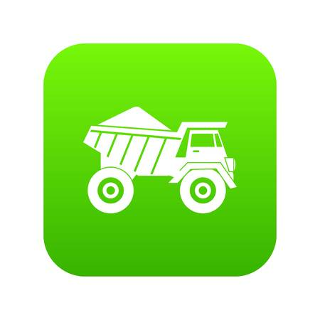 Dump truck with sand icon digital green for any design isolated on white vector illustration Illustration