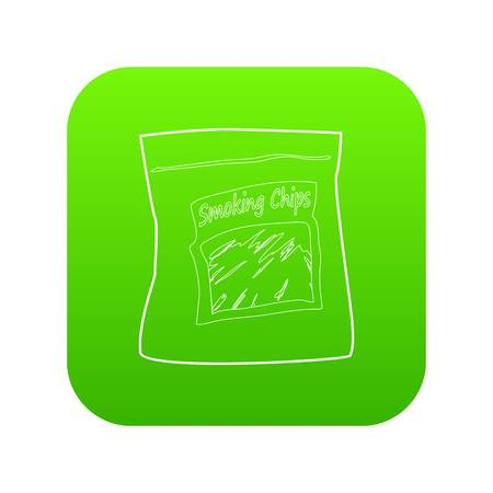 Smoking chips icon green vector isolated on white background