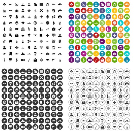 100 military journalist icons set vector in 4 variant for any web design isolated on white