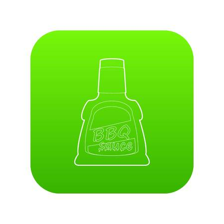 Barbecue sause icon green vector isolated on white background