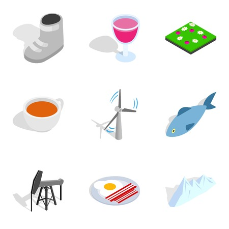Heating period icons set. Isometric set of 9 heating period vector icons for web isolated on white background