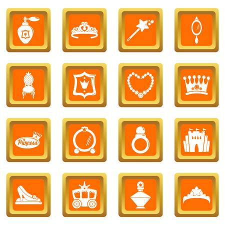 Princess doll icons set vector orange square isolated on white background