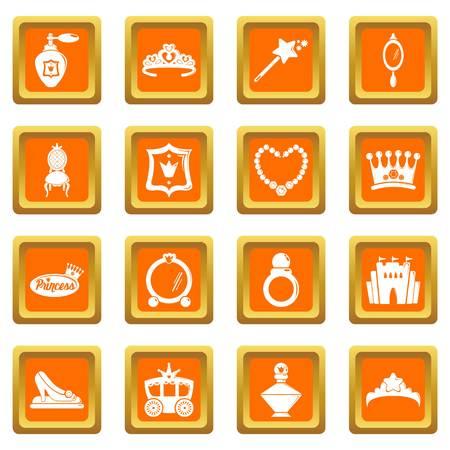Princess doll icons set vector orange square isolated on white background