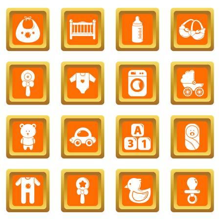 Baby born icons set vector orange square isolated on white background